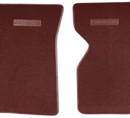 Corvette Floor Mats, 2 Piece ACC Loop, with Embossed Emblem, Oxblood (31), 1973-1975