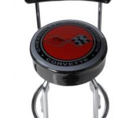 Corvette Stool, Black with Back Rest, C3 Emblem
