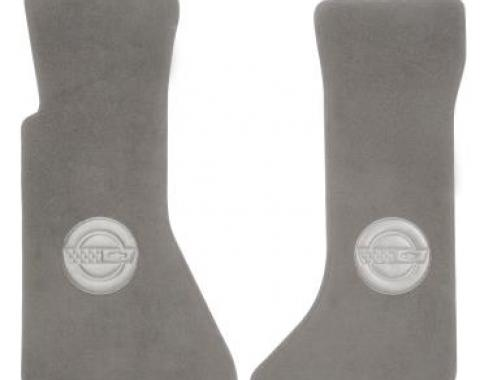Corvette Floor Mats, Cut-Pile, With C4 Logo, Gray, 1988-1991
