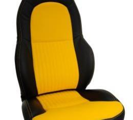 Corvette America 1997-2004 Chevrolet Corvette Custom 100% Leather Seat Covers Standard Black & Yellow 43864