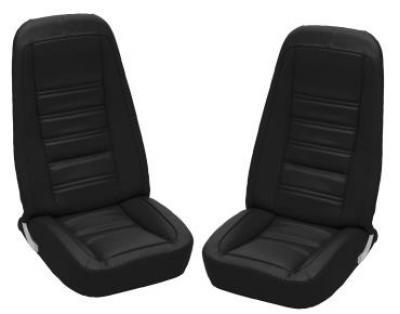 Corvette America 1976-1978 Chevrolet Corvette Embroidered Leather Seat Covers Leather/Vinyl Original 419720E | 59-96 Black