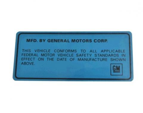 Door Decal, Vehicle Certification Label Back of Door, 1969-1975