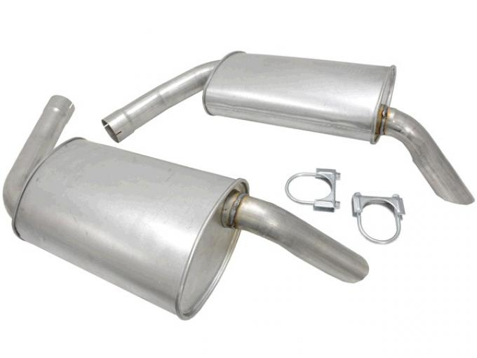Corvette Mufflers Hideaway, 2 1/2 Inch, For Dual Exhaust Systems, 1974-1979