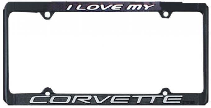 """Corvette License Plate Frame """"I Love My Corvette"""""""