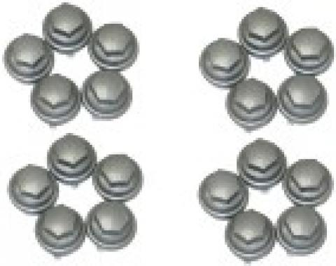 Corvette Lug Nut Cap, Plastic, Gray, Factory Style, Set of 20, 2000-2004