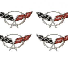 Corvette Center Cap Emblem Set, Domed Chrome, 1997-2004
