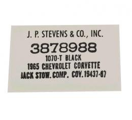 Corvette Decal, Jack Cover Board Carpet, JP Stevens Company, 1965-1967