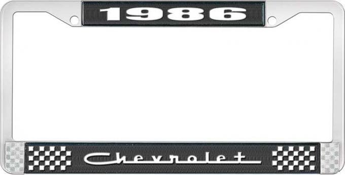 OER 1986 Chevrolet Style # 5 Black and Chrome License Plate Frame with White Lettering LF2238605A