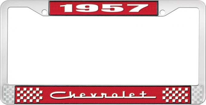 OER 1957 Chevrolet Style #5 Red and Chrome License Plate Frame with White Lettering LF2235705C