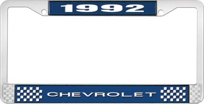 OER 1992 Chevrolet Style # 1 Blue and Chrome License Plate Frame with White Lettering LF2239201B