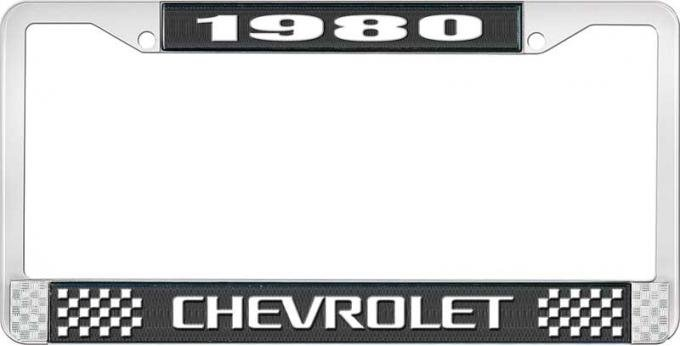 OER 1980 Chevrolet Style # 3 Black and Chrome License Plate Frame with White Lettering LF2238003A