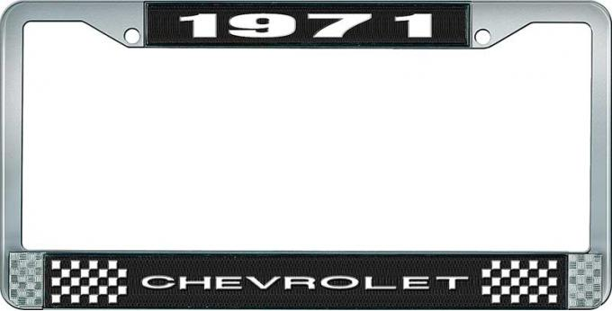 OER 1971 Chevrolet Style # 1 Black and Chrome License Plate Frame with White Lettering LF2237101A