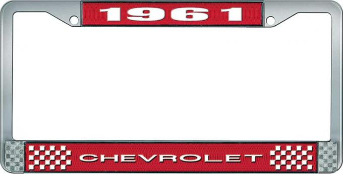 OER 1961 Chevrolet Style #1 Red and Chrome License Plate Frame with White Lettering LF2236101C