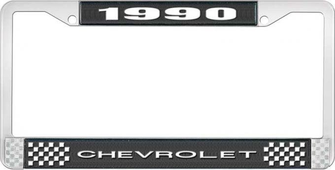 OER 1990 Chevrolet Style # 1 Black and Chrome License Plate Frame with White Lettering LF2239001A