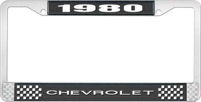 OER 1980 Chevrolet Style # 1 Black and Chrome License Plate Frame with White Lettering LF2238001A