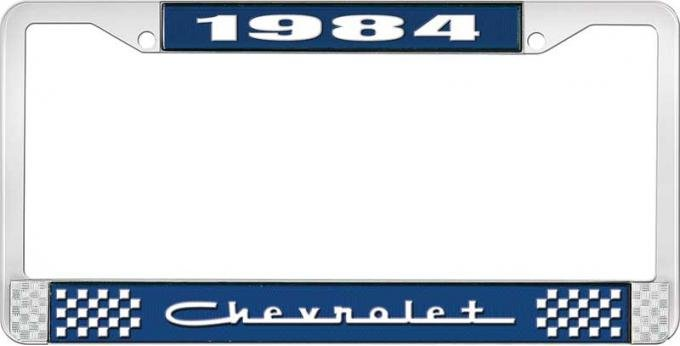 OER 1984 Chevrolet Style # 5 Blue and Chrome License Plate Frame with White Lettering LF2238405B