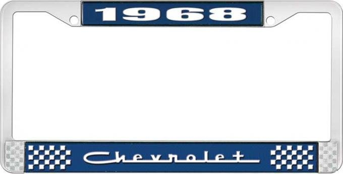 OER 1968 Chevrolet Style # 5 Blue and Chrome License Plate Frame with White Lettering LF2236805B
