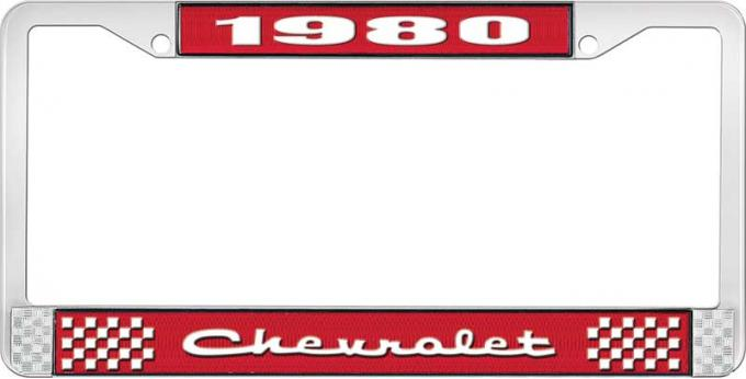 OER 1980 Chevrolet Style # 2 Red and Chrome License Plate Frame with White Lettering LF2238002C