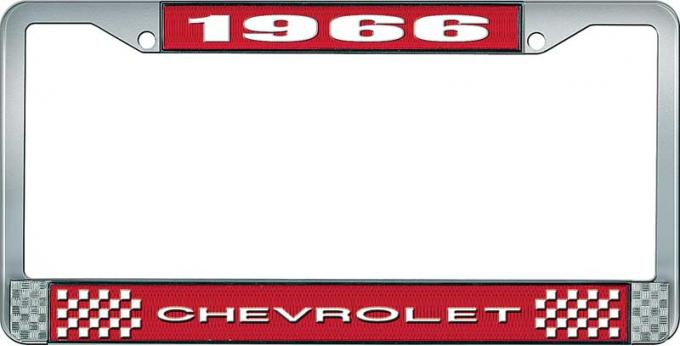 OER 1966 Chevrolet Style #1 Red and Chrome License Plate Frame with White Lettering LF2236601C