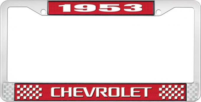 OER 1953 Chevrolet Style #3 Red and Chrome License Plate Frame with White Lettering LF2235303C
