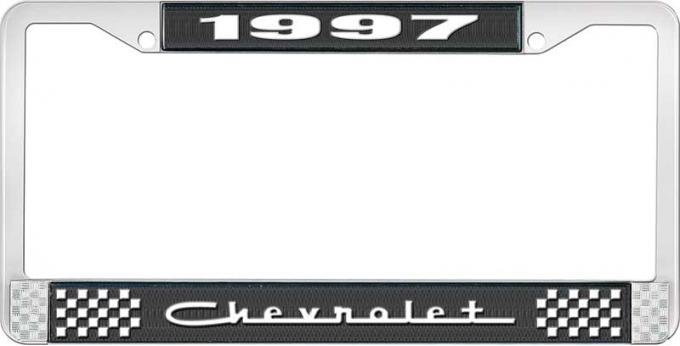 OER 1997 Chevrolet Style # 5 Black and Chrome License Plate Frame with White Lettering LF2239705A