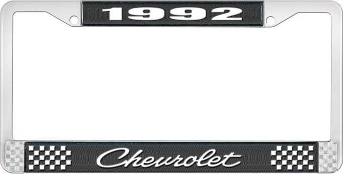 OER 1992 Chevrolet Style # 4 Black and Chrome License Plate Frame with White Lettering LF2239204A