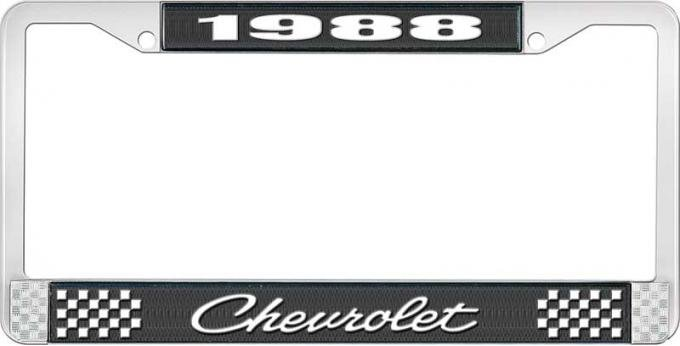 OER 1988 Chevrolet Style # 4 Black and Chrome License Plate Frame with White Lettering LF2238804A