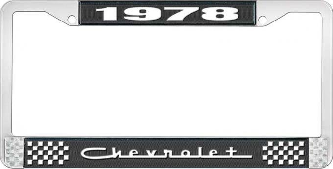 OER 1978 Chevrolet Style # 5 Black and Chrome License Plate Frame with White Lettering LF2237805A