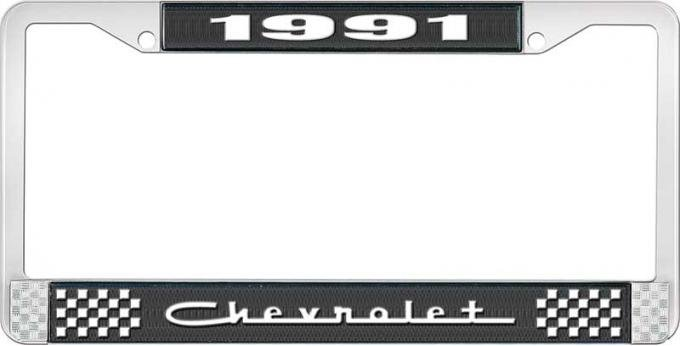 OER 1991 Chevrolet Style # 5 Black and Chrome License Plate Frame with White Lettering LF2239105A