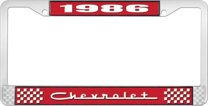 OER 1986 Chevrolet Style # 5 Red and Chrome License Plate Frame with White Lettering LF2238605C