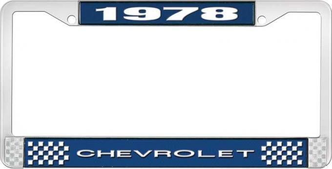 OER 1978 Chevrolet Style # 1 Blue and Chrome License Plate Frame with White Lettering LF2237801B