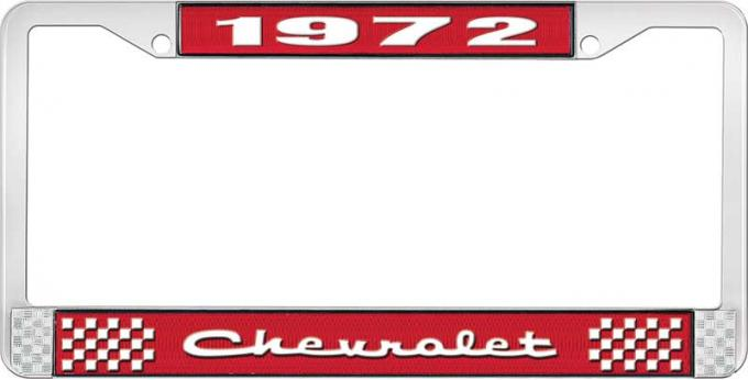 OER 1972 Chevrolet Style # 2 Red and Chrome License Plate Frame with White Lettering LF2237202C