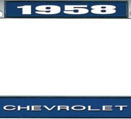 OER 1958 Chevrolet Style #1 - Blue and Chrome License Plate Frame with White Lettering *LF2235801B