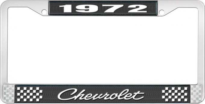 OER 1972 Chevrolet Style # 4 Black and Chrome License Plate Frame with White Lettering LF2237204A