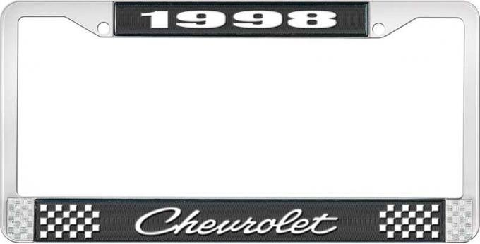 OER 1998 Chevrolet Style # 4 Black and Chrome License Plate Frame with White Lettering LF2239804A