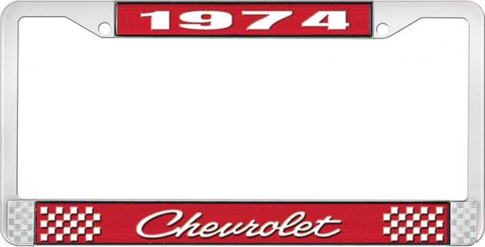 OER 1974 Chevrolet Style # 4 Red and Chrome License Plate Frame with White Lettering LF2237404C