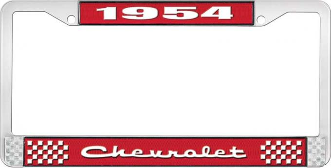 OER 1954 Chevrolet Style #2 Red and Chrome License Plate Frame with White Lettering LF2235402C