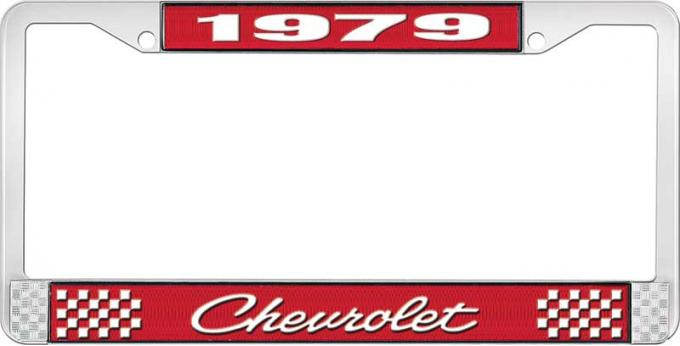OER 1979 Chevrolet Style # 4 Red and Chrome License Plate Frame with White Lettering LF2237904C