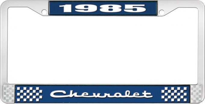 OER 1985 Chevrolet Style # 2 Blue and Chrome License Plate Frame with White Lettering LF2238502B