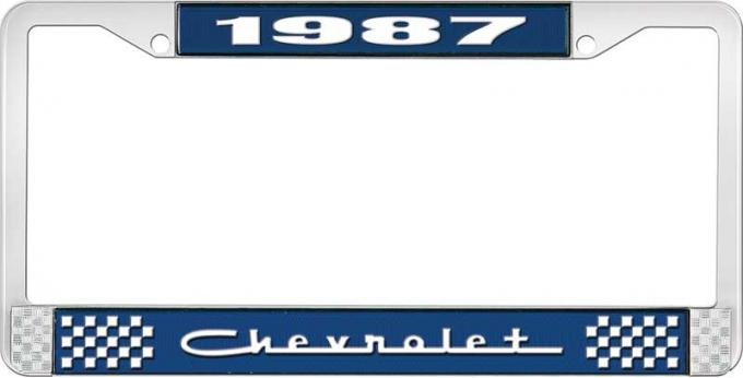 OER 1987 Chevrolet Style # 5 Blue and Chrome License Plate Frame with White Lettering LF2238705B