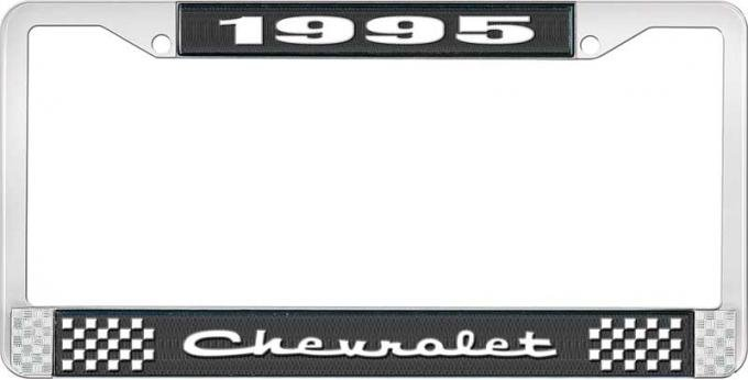 OER 1995 Chevrolet Style # 2 Black and Chrome License Plate Frame with White Lettering LF2239502A