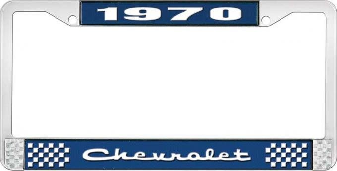 OER 1970 Chevrolet Style # 2 Blue and Chrome License Plate Frame with White Lettering LF2237002B