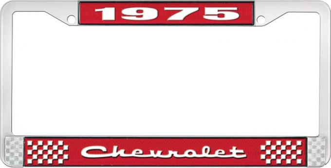 OER 1975 Chevrolet Style # 2 Red and Chrome License Plate Frame with White Lettering LF2237502C