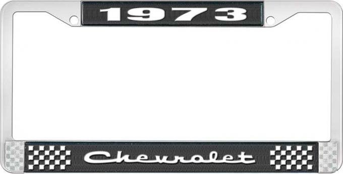 OER 1973 Chevrolet Style # 2 Black and Chrome License Plate Frame with White Lettering LF2237302A