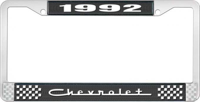OER 1992 Chevrolet Style # 5 Black and Chrome License Plate Frame with White Lettering LF2239205A