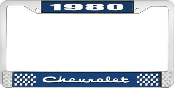 OER 1980 Chevrolet Style # 2 Blue and Chrome License Plate Frame with White Lettering LF2238002B