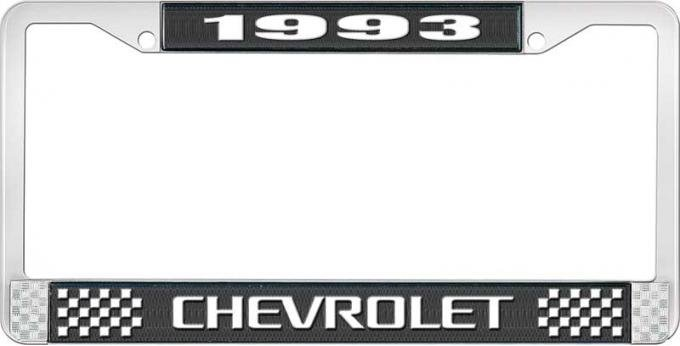 OER 1993 Chevrolet Style # 3 Black and Chrome License Plate Frame with White Lettering LF2239303A