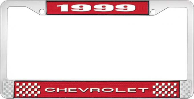 OER 1999 Chevrolet Style # 1 Red and Chrome License Plate Frame with White Lettering LF2239901C