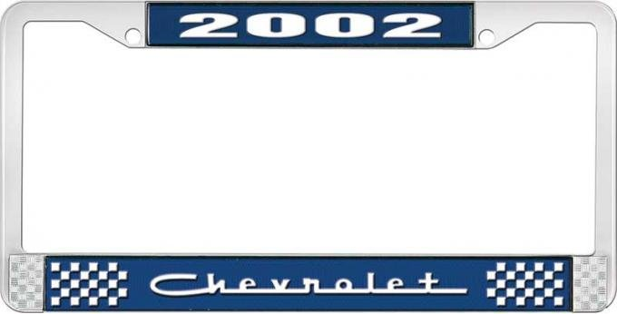 OER 2002 Chevrolet Style #5 Blue and Chrome License Plate Frame with White Lettering LF2230205B