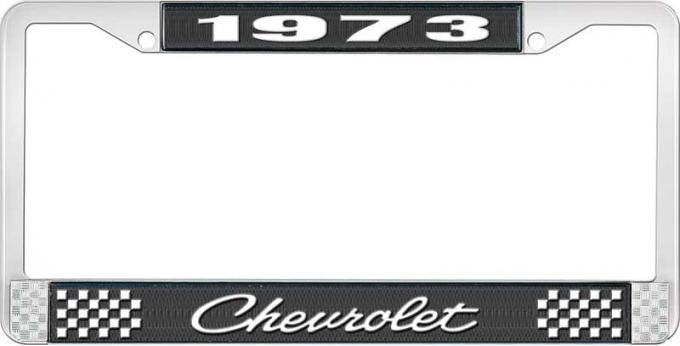 OER 1973 Chevrolet Style # 4 Black and Chrome License Plate Frame with White Lettering LF2237304A